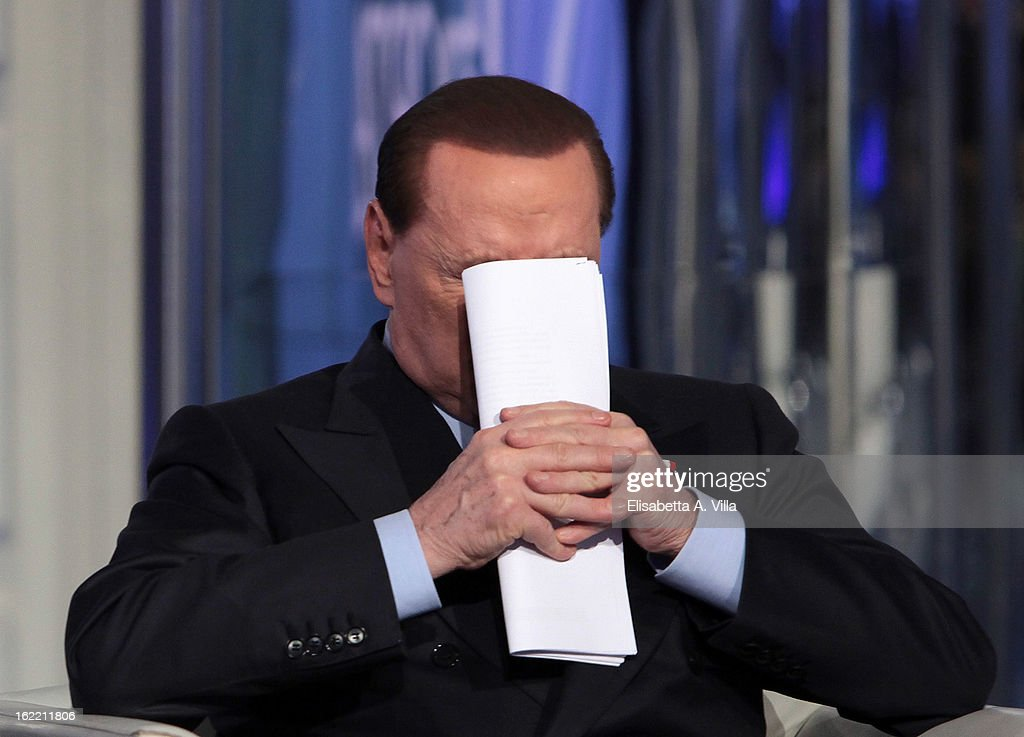 Leader Silvio Berlusconi attends 'Porta A Porta' TV Show on February 20, 2013 in Rome, Italy. Berlusconi is continuing his campaign for the upcoming general elections that take place on February 24th and 25th.