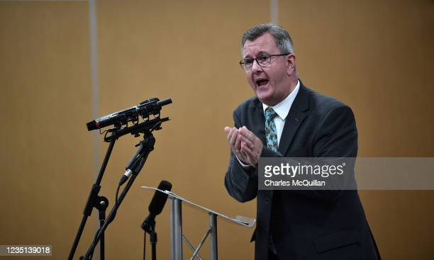Leader Sir Jeffrey Donaldson delivers a keynote speech at the La Mon House Hotel on September 9, 2021 in Belfast, Northern Ireland. The Democratic...