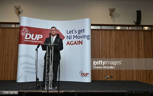 Leader Sir Jeffrey Donaldson gives a keynote speech at the La Mon House Hotel on September 9, 2021 in Belfast, Northern Ireland. The Democratic...