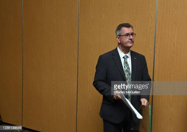 Leader Sir Jeffrey Donaldson looks on after delivering a keynote speech at the La Mon House Hotel on September 9, 2021 in Belfast, Northern Ireland....
