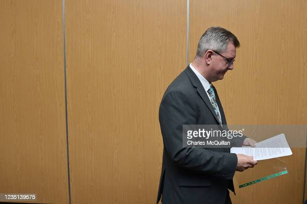 Leader Sir Jeffrey Donaldson pictured with his keynote speech which he delivered at the La Mon House Hotel on September 9, 2021 in Belfast, Northern...