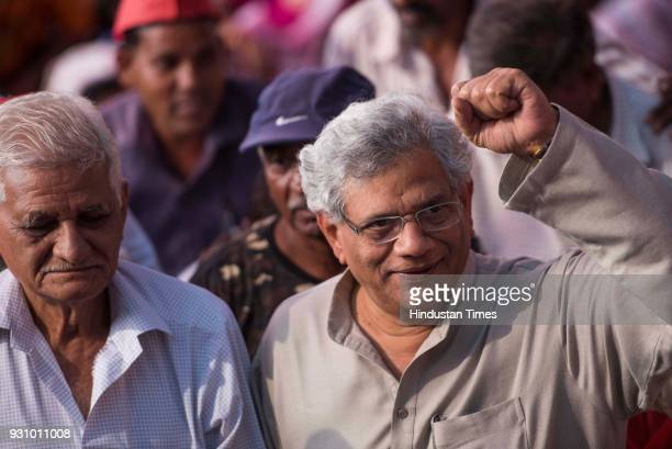M leader Sitaram Yechury during farmers protest march at Azad Maidan on March 12 2018 in Mumbai India Over 30000 farmers from across Maharashtra who...