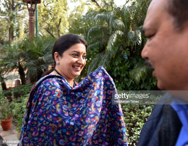 BJP leader Smriti Irani during the 2018 Budget Session on February 6 2018 in New Delhi India