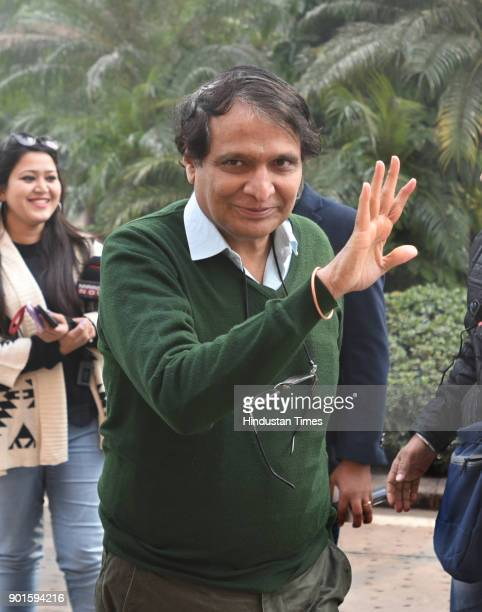 BJP leader Suresh Prabhu during the last day of the parliament winter session at Parliament House on January 5 2018 in New Delhi India The last day...