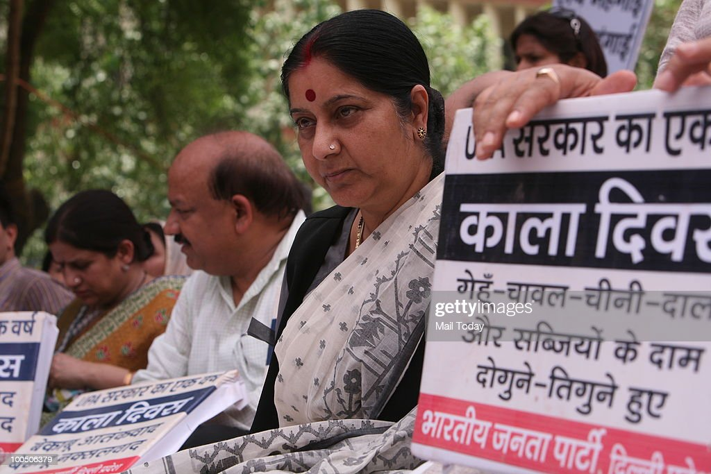 BJP leader Sushma Swaraj at a BJP rally to observe 'Black Day' on completion of one year by the UPA government in New Delhi on May 24, 2010.
