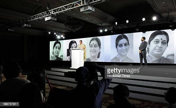 Leader Sushma Swaraj speaks during the NDTV 'Indian of the Year' Awards on April 15, 2013 in New Delhi, India.