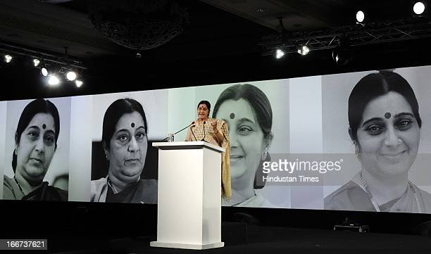 BJP leader Sushma Swaraj speaks during the NDTV 'Indian of the Year' Awards on April 15 2013 in New Delhi India