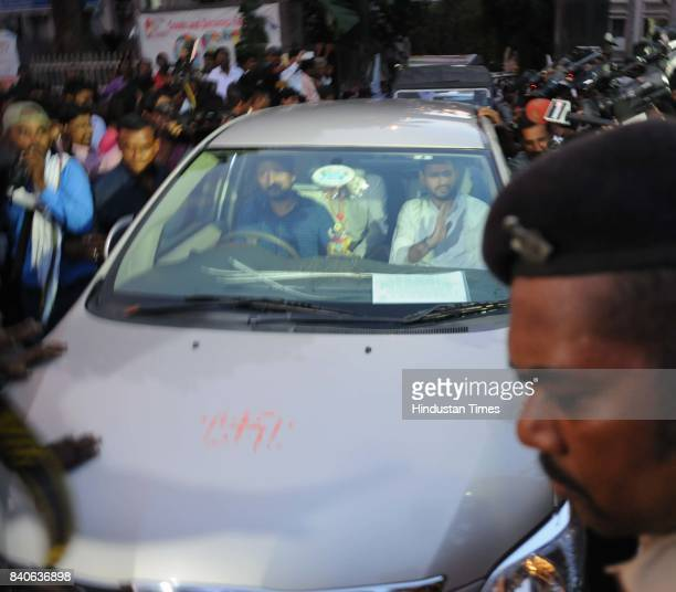 RJD leader Tejashwi Yadav comes out of the Income Tax office after the interrogation on August 29 2017 in Patna India