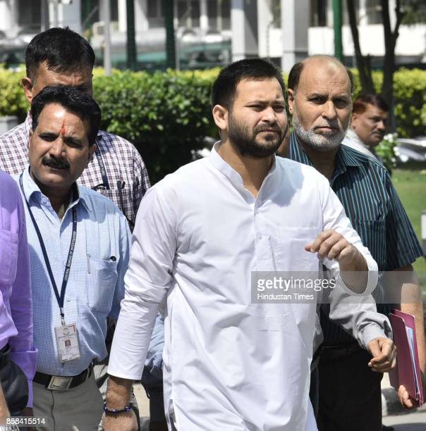 RJD leader Tejaswi Yadav at CBI headquarters on October 6 2017 in New Delhi India