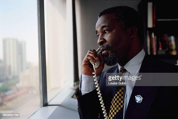 ANC Leader Thabo Mbeki Making Telephone Call