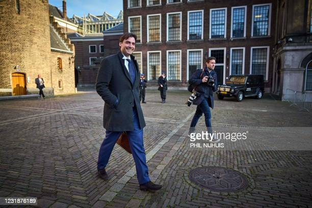 Leader Thierry Baudet arrives in the Lower House for a meeting with scouts Annemarie Jorritsma and Kasja Ollongren in The Hague, on March 22, 2021. -...