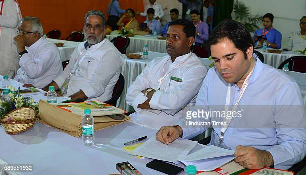 BJP leader Varun Gandhi during the party's national executive meeting on June 12 2016 in Allahabad India The national executive meet will set the...