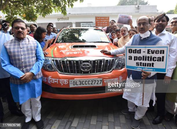 Leader Vijay Goel leaves from his residence in an odd number car on the first day of the Odd-Even traffic regulation scheme by the Delhi government...
