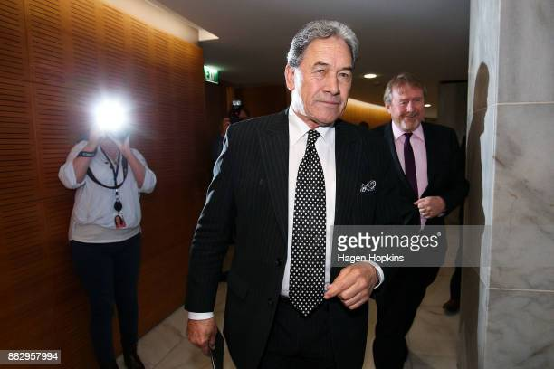 Leader Winston Peters and advisor arrive Paul Carrad at a NZ First announcement at Parliament on October 19 2017 in Wellington New Zealand After...