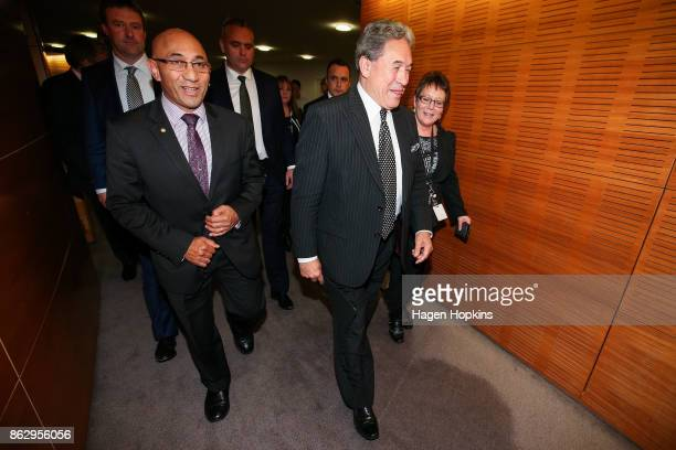 Leader Winston Peters and deputy Ron Mark exit after a NZ First announcement at Parliament on October 19 2017 in Wellington New Zealand After weeks...