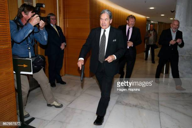Leader Winston Peters arrives at a NZ First announcement at Parliament on October 19 2017 in Wellington New Zealand After weeks of coalition...