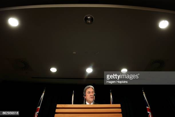 Leader Winston Peters speaks to media during a NZ First announcement at Parliament on October 19 2017 in Wellington New Zealand After weeks of...