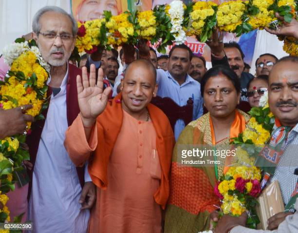 BJP leader Yogi Adityanath addresses a public meeting at Naharia in Panki in support of party candidate Neelima Katiyar on February 16 2017 in Kanpur...