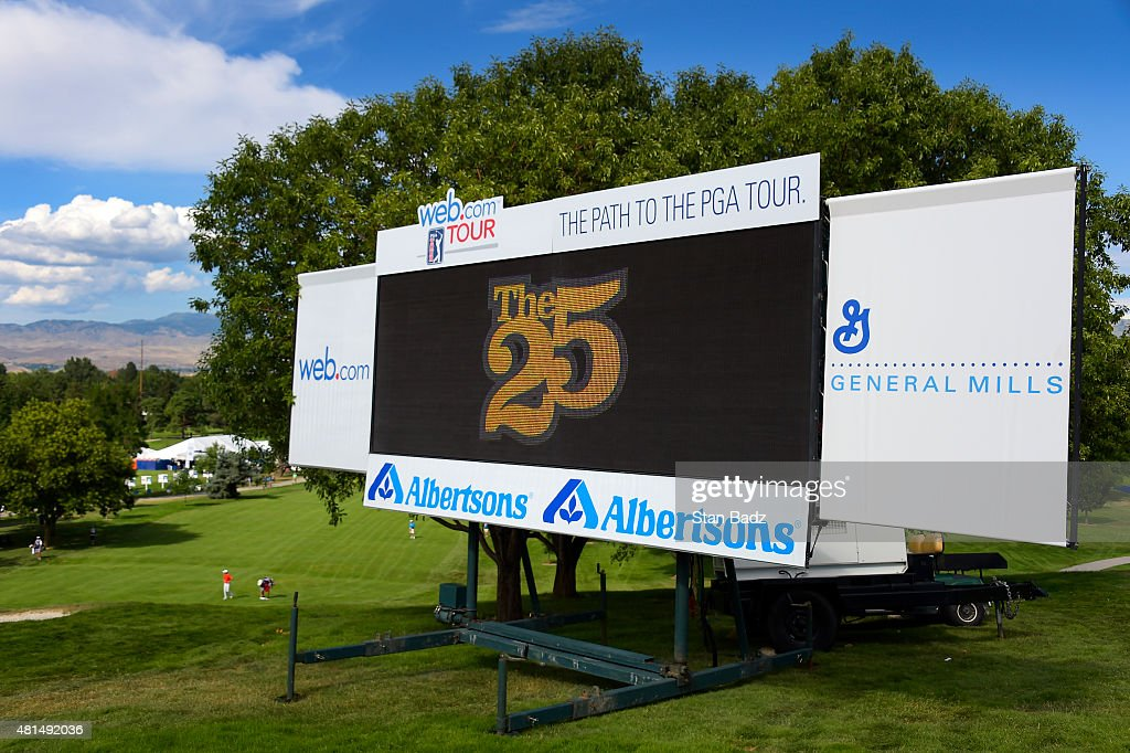 A leaderboard is located on the 18th hole during the final round of the Web.com Tour Albertsons Boise Open presented by Kraft Nabisco at Hillcrest Country Club on July 12, 2015 in Boise, Idaho.
