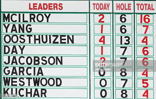 A leaderboard is seen during the final round of the 111th US Open at Congressional Country Club on June 19 2011 in Bethesda Maryland