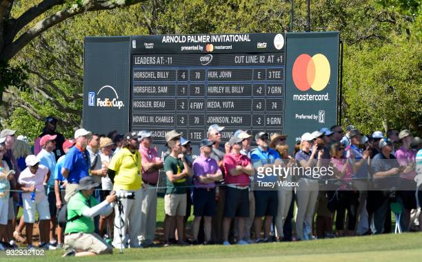 A leaderboard is seen during the second round of the Arnold Palmer Invitational presented by MasterCard at Bay Hill Club and Lodge on March 16 2018...