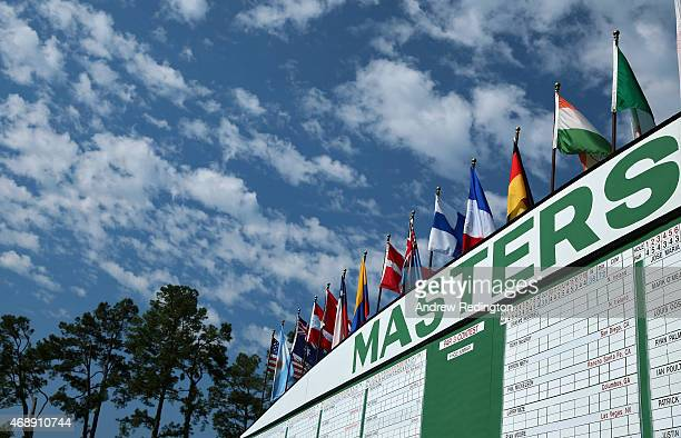 A leaderboard is seen near the first hole during a practice round prior to the start of the 2015 Masters Tournament at Augusta National Golf Club on...