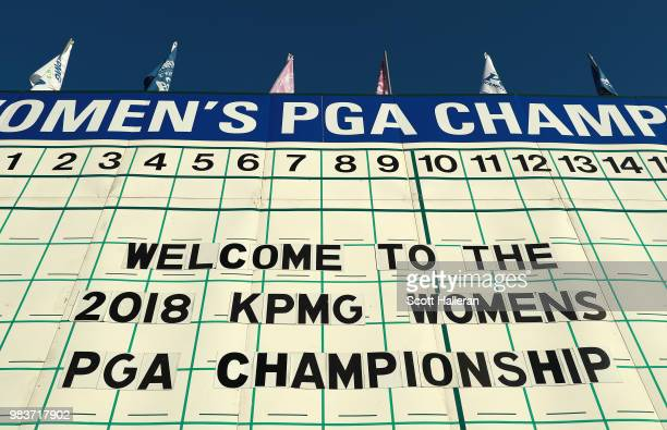 The 18th hole tee sign is seen prior to the start of the KPMG Women's PGA Championship at Kemper Lakes Golf Club on June 25 2018 in Kildeer Illinois