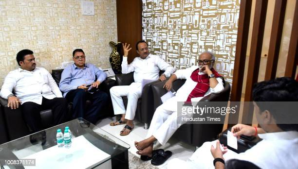 NCP leaders Ajit Pawar and Chhagan Bhujbal during a meeting of parties MLAs and MLCs meeting on Maratha Reservation on July 30 2018 in Mumbai India
