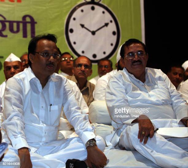 NCP leaders Ajit Pawar during NCP meeting at YB Chavan Auditorium in Mumbai on Thursday