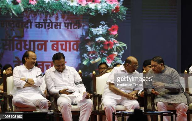 NCP leaders Ajit Pawar Jayant Patil NCP President Sharad Pawar and Dilip Wadse Patil during NCP Save The Constitution March to protest against the...