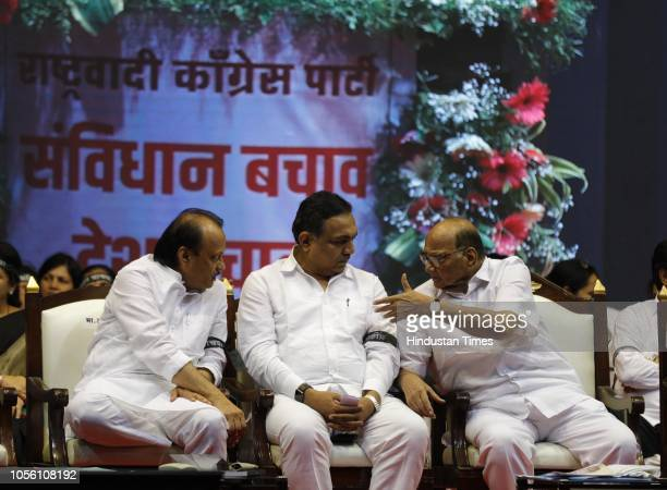 NCP leaders Ajit Pawar Jayant Patil NCP President Sharad Pawar and during NCP Save The Constitution March to protest against the Government at Ganesh...