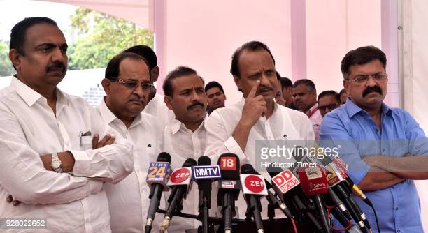 Leaders Ajit Pawar Jitendra Awhad and opposition leaders during budget session at Vidhan Bhavan on March 5 2018 in Mumbai India