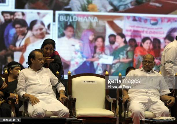 NCP leaders Ajit Pawar Supriya Sule and NCP President Sharad Pawar and Foziya Khan during NCP Save The Constitution March to protest against the...