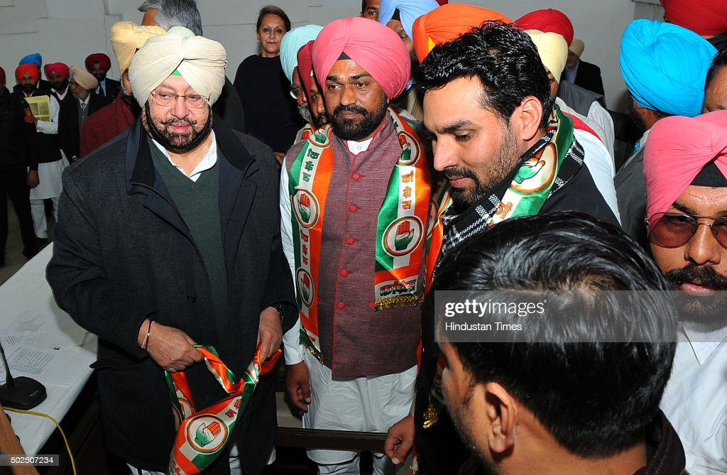 Leaders and supporters of various parties joining Congress party during the press conference of Punjab Congress President Capt Amrinder Singh at...