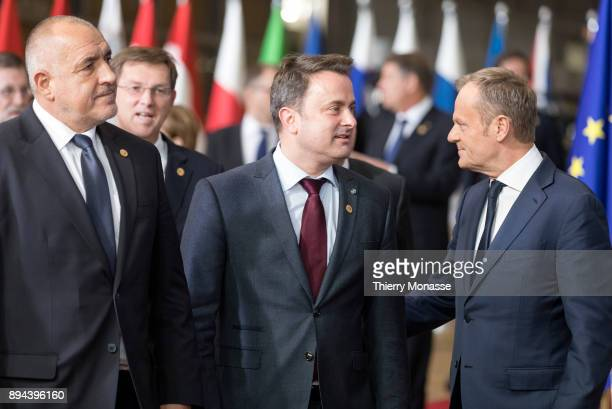EU leaders arrive for a ceremony on the Permanent Structure Cooperation on the margin of an European Council in the Europa the EU Council headquarter...
