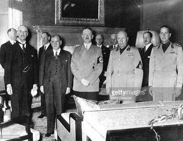 Leaders at the Munich Peace Conference, September 1938. Left to right: Neville Chamberlain Edouard Daladier Adolph Hitler Benito Mussolini and Count...
