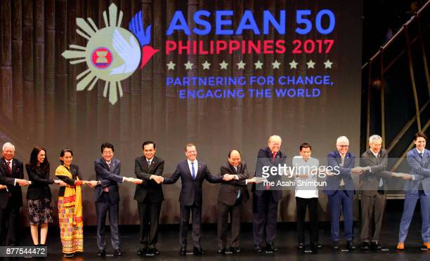 Leaders attend the ASEAN summit meeting on November 13 2017 in Manila Philippines Abe is on 7day tour to Asia