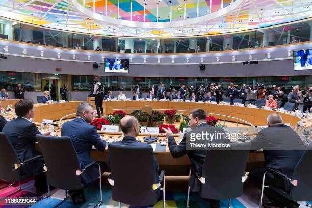 EU leaders attend the first of a twoday summit of European Union leaders on December 12 2019 in Brussels Belgium During their first working session...