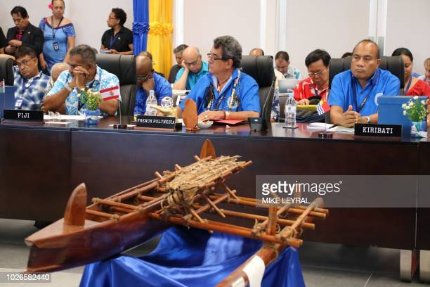 Leaders attend the Pacific Islands Forum at the Civic Center in Aiwo on the island of Nauru on September 4 2018 Pacific leaders opened their annual...