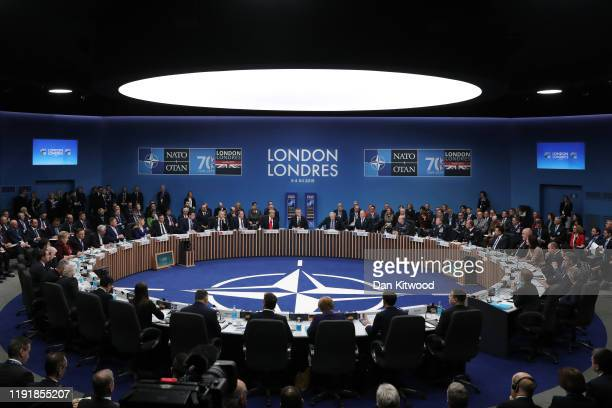 Leaders attend their summit at the Grove Hotel on December 4, 2019 in Watford, England. France and the UK signed the Treaty of Dunkirk in 1947 in the...