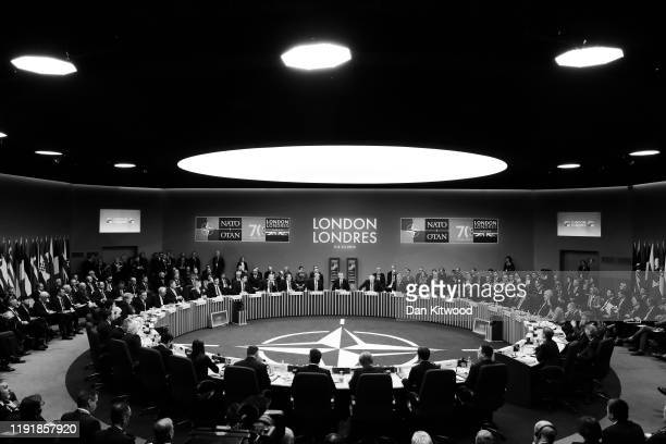 NATO leaders attend their summit at the Grove Hotel on December 4 2019 in Watford England France and the UK signed the Treaty of Dunkirk in 1947 in...