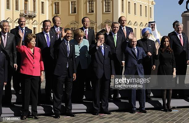 G20 leaders Brazils President Dilma Rousseff US President Barack Obama Germanys Chancellor Angela Merkel Indonesias President Susilo Bambang...