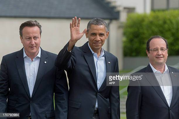 G8 Leaders Britain's Prime Minister David Cameron US President Barack Obama and France's President Francois Hollande pose for the family picture of...