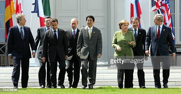 Leaders British Prime Minister Tony Blair, European Commission President Jose Manuel Barroso, French President Nicolas Sarkozy, Russian President...