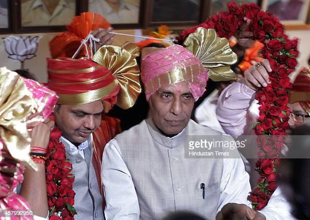 BJP leaders Devendra Fadnavis and Rajnath Singh during the legislative meeting at Vidhan Bhavan on October 28 2014 in Mumbai India Devendra Fadnavis...