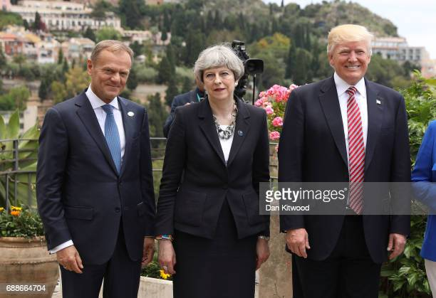 G7 leaders European Council President Donald Tusk British Prime Minister Theresa May and US President Donald Trump attend a flypast at San Domenico...