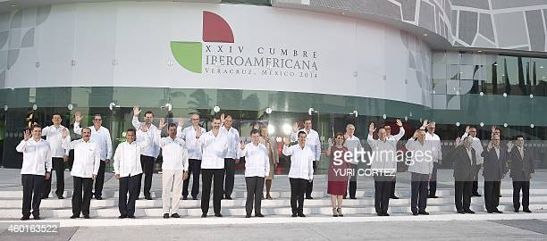 Leaders from Latin America and the Iberian Peninsula pose for the family photo during the XXIV IberoAmerican Summit in city port of Veracruz Mexico...