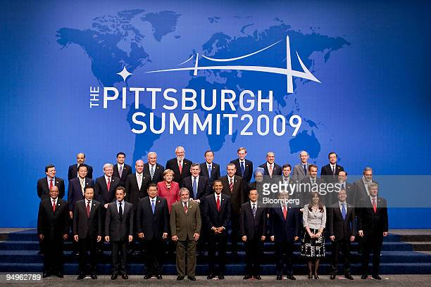 Leaders from the Group of 20 nations take part in a group photo on day two of the G20 summit in Pittsburgh Pennsylvania US on Friday Sept 25 2009 G20...