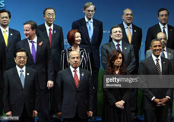 Leaders from the Group of 20 nations take part in a photo session at the G20 Seoul Summit 2010 in Seoul South Korea on Friday Nov 12 2010 From left...
