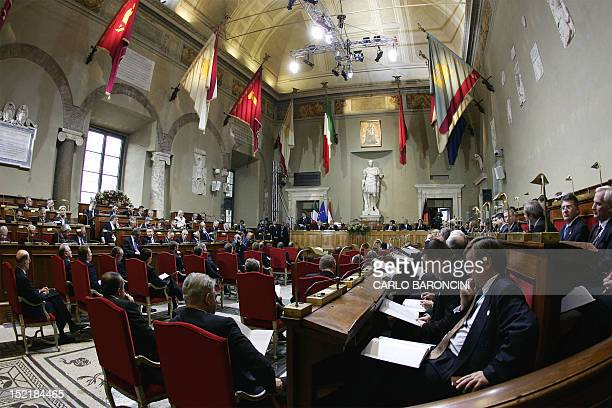EU leaders gather at the Jules Cesar hall before signing the Treaty and Final Act that establish a Constitution for Europe at the Capitol Place in...